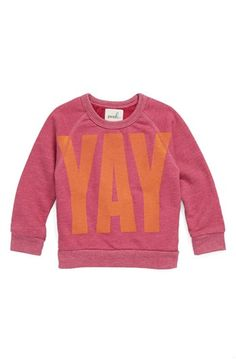 Peek 'Yay' Sweatshirt (Baby Girls) available at #Nordstrom