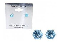 Swarovski Crystal Stud Earrings : Light Sapphire Blue in Sterling Silver with Heart-Shaped Gift Box: