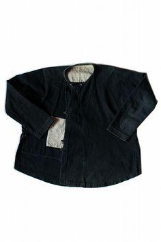 Asian vintage indigo small shirt/Vietnam tribal Dao/dark indigo black/1950s/292