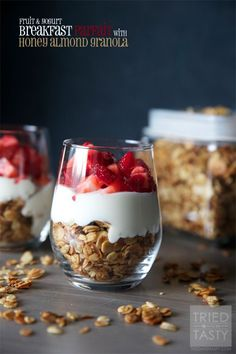Fruit & Yogurt Breakfast Parfait with Honey Almond Granola | This delicious breakfast is perfect for those quick mornings on the go. Filling, sweet, and healthy. The perfect way to get your day started! | Tried and Tasty