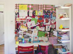 Cool kid's desk corner with tower bookshelf