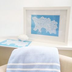 A4 Mounted Jersey Typography Map in blue #jerseyci #typography #map #walldecor #homedecor