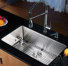 "Kraus KHU10030KPF1612KSD30CH 30"" Undermount Single Bowl Stainless Steel Sink with Spiral Spring Faucet, Soap Dispenser, 10"" Bowl Depth, 16-G..."