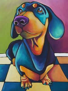 Dachshund - Shauna Morrissey (b. 1970) {contemporary animal artist colorful dog painting}