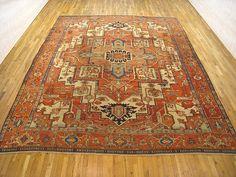 "Persian: Geometric 13' 2"" x 10' 8"" Serapi at Persian Gallery New York - Antique Decorative Carpets & Period Tapestries"