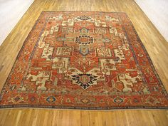 "Persian: Geometric 13' 2"" x 10' 8"" Serapi at Persian Gallery New York - Antique Decorative Carpets & Period Tapestries"