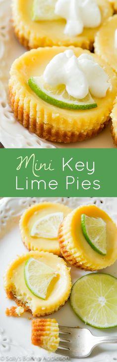 What's better than key lime pie? INDIVIDUAL mini key lime pies! sallysbakingaddiction.com