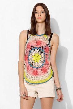 Urban Outfitters Ecote Acid Sun Crochet Tank Top on shopstyle.com