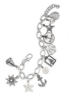 I can think of a dozen pretty ladies that would fall in love with this Brighton Anchor's Away charm bracelet! @Robin Fuller