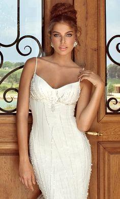 Brides beaided high bun wedding hair ideas Toni Kami Wedding Hairstyles  Beautiful wedding gown dress Perfection! Galia Lahav