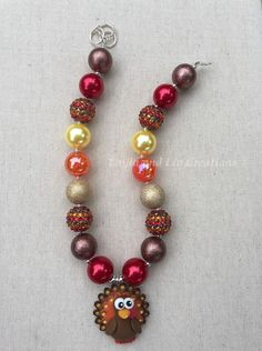 Turkey Necklace, Thanksgiving Necklace, Child Jewelry, Bubblegum Necklace, Chunky Necklace - pinned by pin4etsy.com