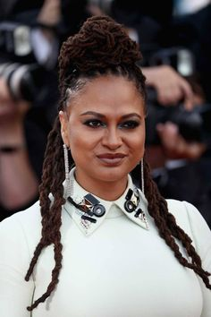 Ava DuVernay attends the screening of 'Everybody Knows ' and the opening gala during the annual Cannes Film Festival at Palais des Festivals on. Dreadlock Styles, Dreads Styles, Dreadlock Hairstyles, Vanity Fair, Beautiful Dreadlocks, Palais Des Festivals, Black Goddess, Long Locks, Cannes Film Festival