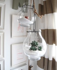 """Snow lanterns & terrariums, love the """"snow"""" and and the snowflake stenciled decorations"""
