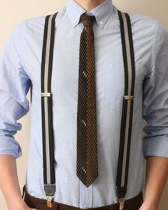 Button on braces/suspenders. Wear with a tee and trainers for a casual look.