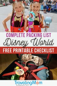 Packing might not be the most exciting part of a Disney World vacation, but it's important to know what to bring (and what NOT to bring!). This complete packing list includes all the things you'll need for your next Disney trip, including essentials, shoes & toiletries. Find out what to put inside a Disney parks day bag, items that will make your vacation easier and don't forget the FREE Disney printable packing checklist! (photo credits: top-Breeze Leonard, bottom-Lauren Bruce) Packing List For Disney, Disney On A Budget, Disney World Planning, Vacation Packing, Disney World Hotels, Walt Disney World Vacations, Disney World Resorts, Disney Parks, Packing Checklist