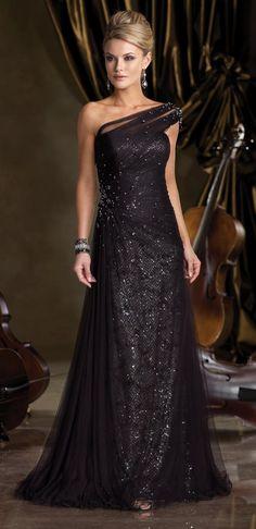 One-shoulder black tulle Style 212D73 evening dress with sparkle detail (Ivonne D for Mon Cheri)