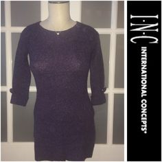 30% OFF BDLS INC purple sweater dress INC international concepts purple sweater dress/ tunic. 3/4th sleeved with a button on end of each sleeve. Has 3 buttons over one shoulder. Great for work! INC International Concepts Dresses