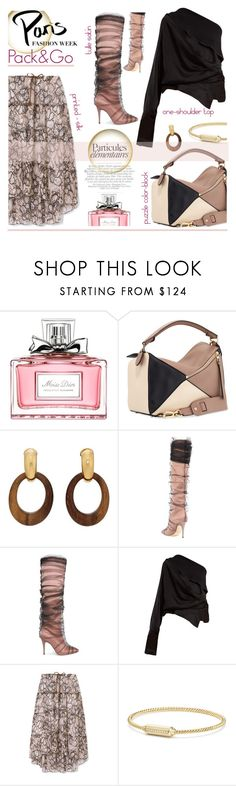 """Paris - Pack and Go"" by sara-cdth ❤ liked on Polyvore featuring Été Swim, Christian Dior, Loewe, Goossens, Jimmy Choo, Off-White, A.W.A.K.E., See by Chloé, David Yurman and parisfashionweek"