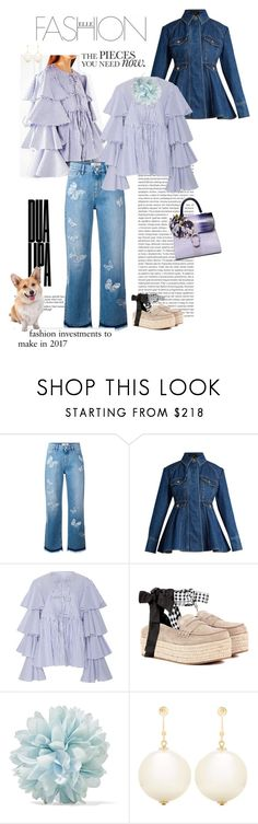"""WHEN IN DOUBT, WEAR DENIM AND STRIPES !"" by scapin ❤ liked on Polyvore featuring Caroline Constas, Anja, Oris, Valentino, E L L E R Y, Corgi, Miu Miu, Gucci and Simone Rocha"