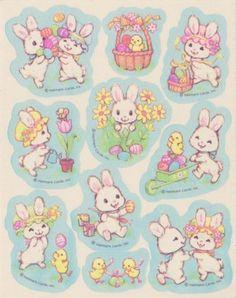 Vintage 80's EASTER BUNNIES Sticker sheet by Hallmark
