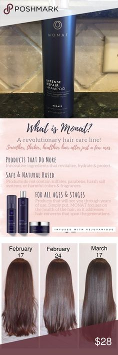 Monat Intense Repair Shampoo To grow out your hair, first you must repair. Our Intense Repair shampoo offers an intense clean you'll feel. Formulated with an invigorating blend of rosemary oil and mint, it'll perk you up and provide the clean slate you need for regrowth. Harsh sun rays are no match for this formula, so you can enjoy the great outdoors without sacrificing great lengths.   Rosemary & mint clean and calm the scalp  Contains a UV absorber to combat harsh rays  Works in tandem…