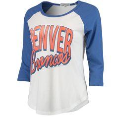 Women's White/Royal Denver Broncos Play Action Vintage 3/4-Sleeve Raglan T-Shirt