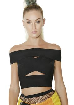 Full Throttle Off-Shoulder Crop Top cuz you're all or nothing. This top features a stretchy bandage fabrication with cutouts on the front N' back.