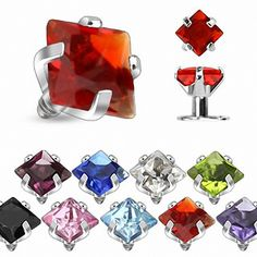 Body Jewelry Dermal Piercing Tops - 9 Or 18 Piece Prong Set Square Gem Internally Threaded