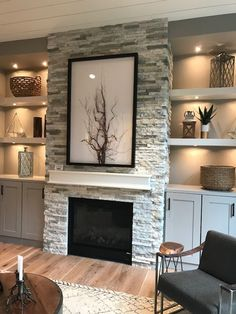 Built In Around Fireplace, Fireplace Tv Wall, Family Room Fireplace, Fireplace Built Ins, Fireplace Remodel, Fireplace Design, Fireplace With Cabinets, Stone Veneer Fireplace, Stacked Stone Fireplaces