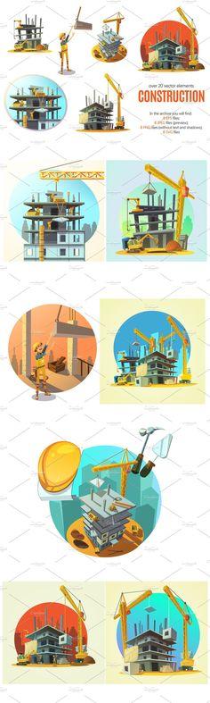 Construction Process, Construction Design, Cartoon, Building, Illustration, Character, Buildings, Illustrations, Cartoons
