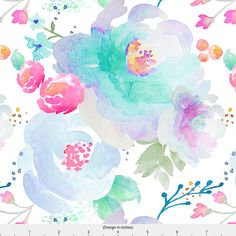 Blue Watercolor Floral Fabric - Indy Bloom Design Floral Blues By Indybloomdesign - Baby Girl Cotton Fabric By The Yard With Spoonflower