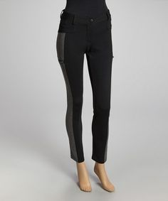 Love this Black & Charcoal Color Block Pants by Romeo & Juliet Couture on #zulily! #zulilyfinds