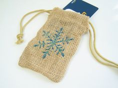 Blue Glittery Snowflake Burlap Gift Bag Holiday by WitsEndDesign