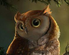 Red Owl, Screech Owl, Owl Art, Cute Owl, Creatures, Bird, Portrait, Painting, Artwork