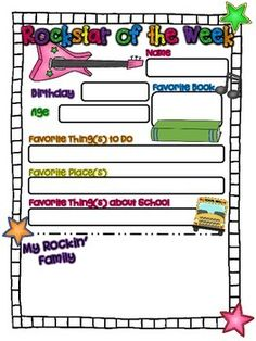 """A free printable for your """"Rockstar of the Week!"""" :) Have your student take this home and fill it out, to share with the class during their special week. For other free printables and teaching ideas please check out my blog at www.chalkfullofideasinfirst.blogspot.com."""