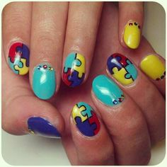Autism Speaks Nails!  These are awesome!!!