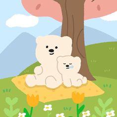 Bear Wallpaper, Cute Anime Wallpaper, Cute Pastel Background, Korean Colors, Bear Illustration, Bear Cartoon, Cute Doodles, Diy Canvas Art, Cute Bears