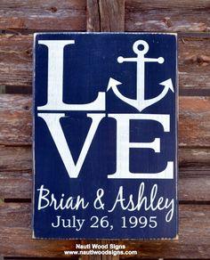 Beach Wedding Sign Anchor Decor Signs Love Nautical Seaside Wood ...