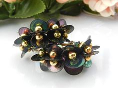 Iridescent Sequin Earrings, Vintage Clip On Earrings by PegsVintageJewellery on Etsy