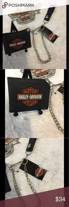 Harley Davidson Billfold with Chain NWT Black all leather billfold with trucker chain, pins I. Pic four show where slots are for cards. Brand new, no flaws, discontinued item, no pets/smoke closet Harley-Davidson Bags Wallets