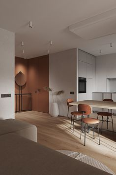 Modern minimalist home interiors that feature warm colour palettes of brown and umber decor, modern furniture designs, and minimalist kitchen ideas. Minimalist Home Interior, Home Interior Design, Interior Architecture, Interior Decorating, Küchen Design, House Design, Tiny Spaces, Spacious Living Room, Office Interiors