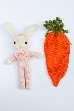 Baby Rabbit, Crochet Bunny, Baby Rabbit in bed, Rabbit and Carrot, Amigurumi Rabbit, Girls Gift, Toddler Gift, Easter Crochet Penguin, Crochet Bunny, Crochet Hats, Paper Beads, Amigurumi Toys, Toddler Gifts, Girl Gifts, Carrot, Amazing Women