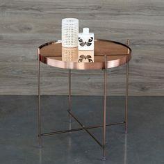 Table basse guéridon métal plateau miroir - 3 Suisses