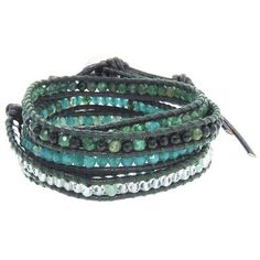 Chan Luu Green Mix Wrap Bracelet on Black Leather (685 PLN) ❤ liked on Polyvore featuring jewelry, bracelets, accessories, green jewelry, beads jewellery, adjustable bangle, beading jewelry and stacking bangles