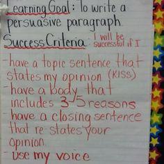 persuasive Writing criteria for students