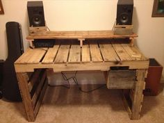#wooden pallet desk with attached drawers