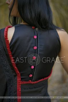 Nightsong Black Satin Saree with Pleated BorderDesigner Blouse Designs for Women - ArtsyCraftsyDad Saree Jacket Designs, Saree Blouse Neck Designs, Fancy Blouse Designs, Black Saree Blouse, Black And Red Saree, Latest Blouse Neck Designs, Designer Blouse Patterns, Designer Saree Blouses, Skirt Patterns
