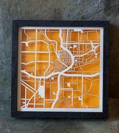 Laser cut map