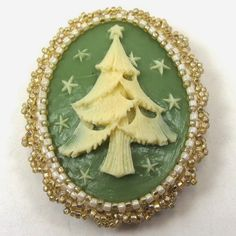 Vintage Christmas Tree Beaded Cameo Brooch