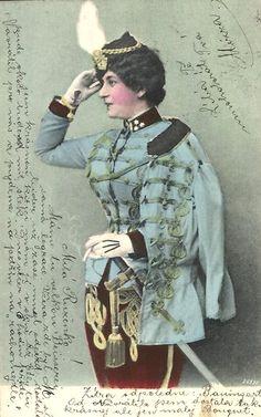 Edwardian lady in Austrian uniform. Early 1900s